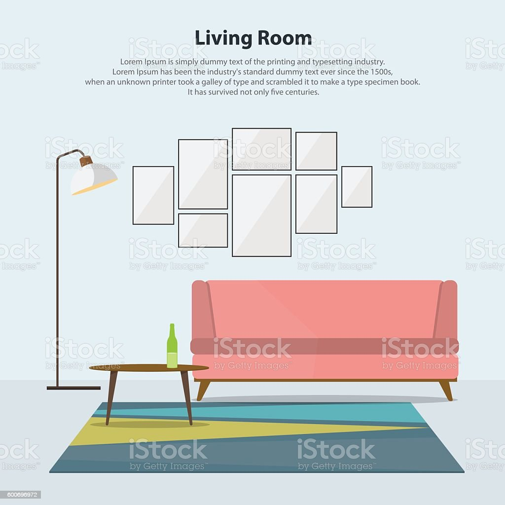 Modern Living Room With Pink Sofa Vector Royalty Free