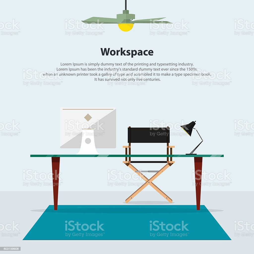 Home interior design. Modern office in flat design. Vector vector art illustration