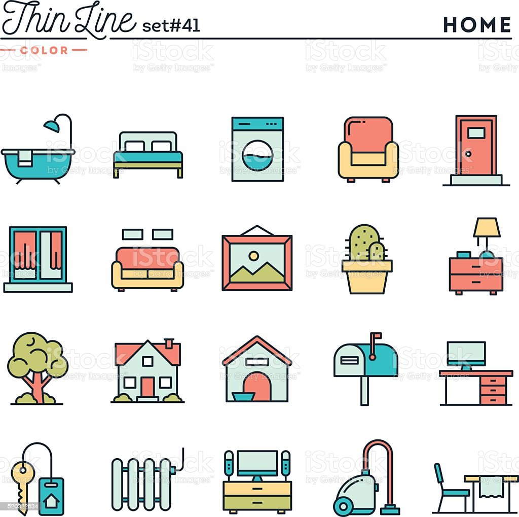 Home, interior, furniture and more, thin line color icons set vector art illustration