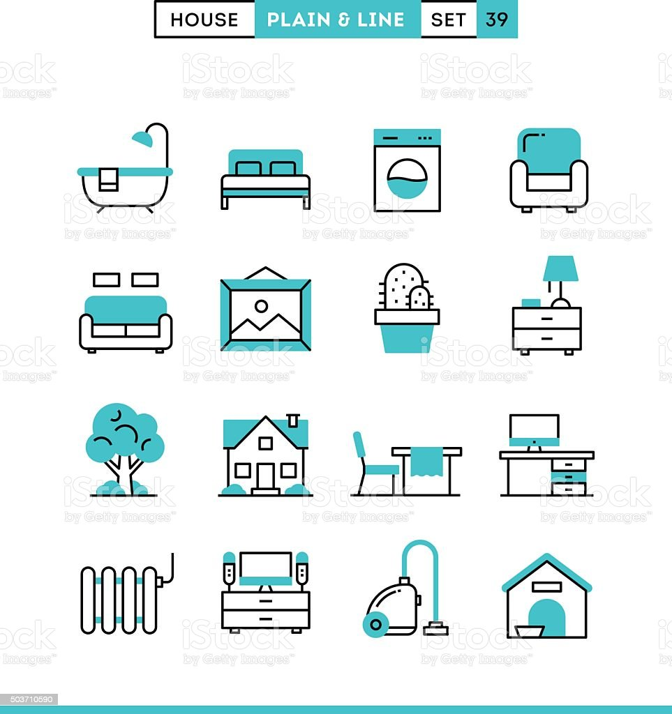 Home, interior, furniture and more. vector art illustration