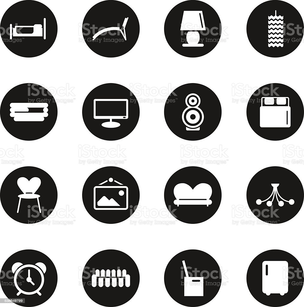 home interior icons black circle series stock vector art 538649799