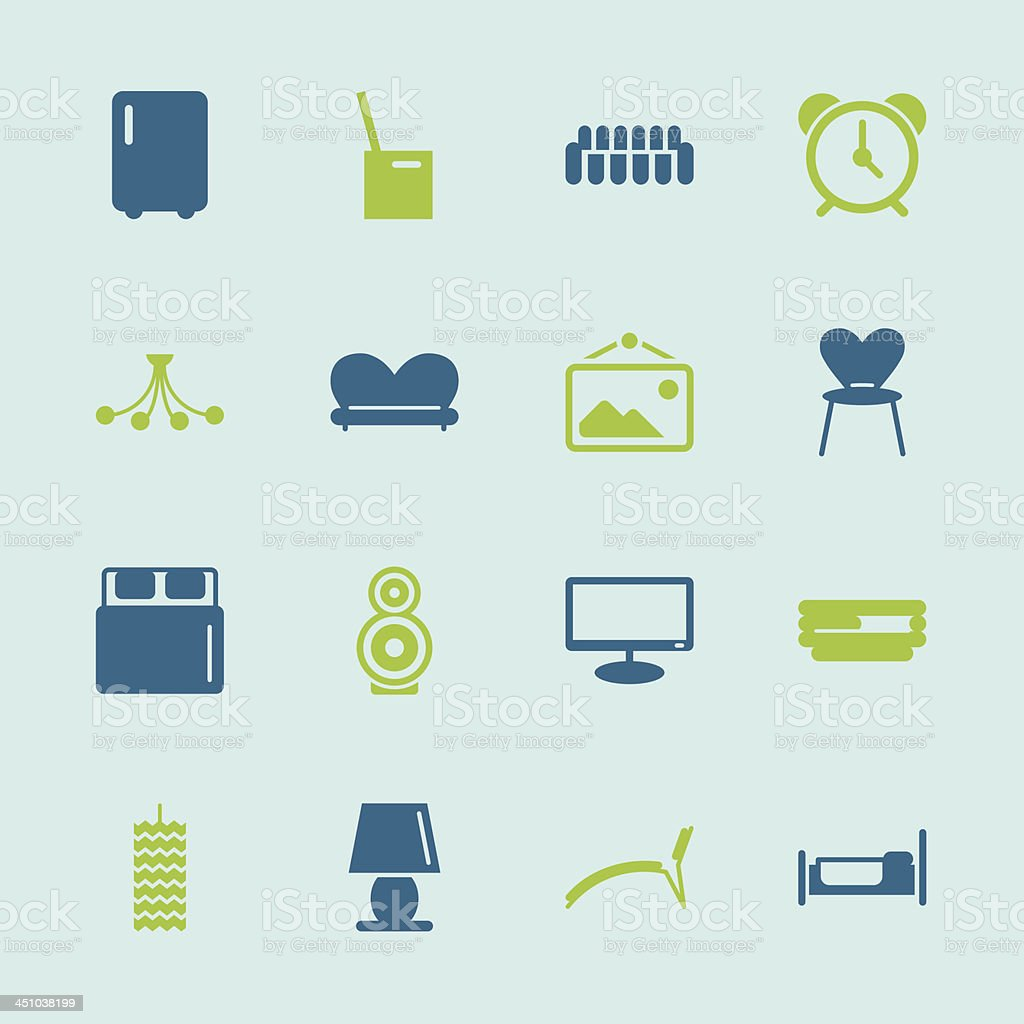 Home Interior Icons - Color Series | EPS10 royalty-free stock vector art