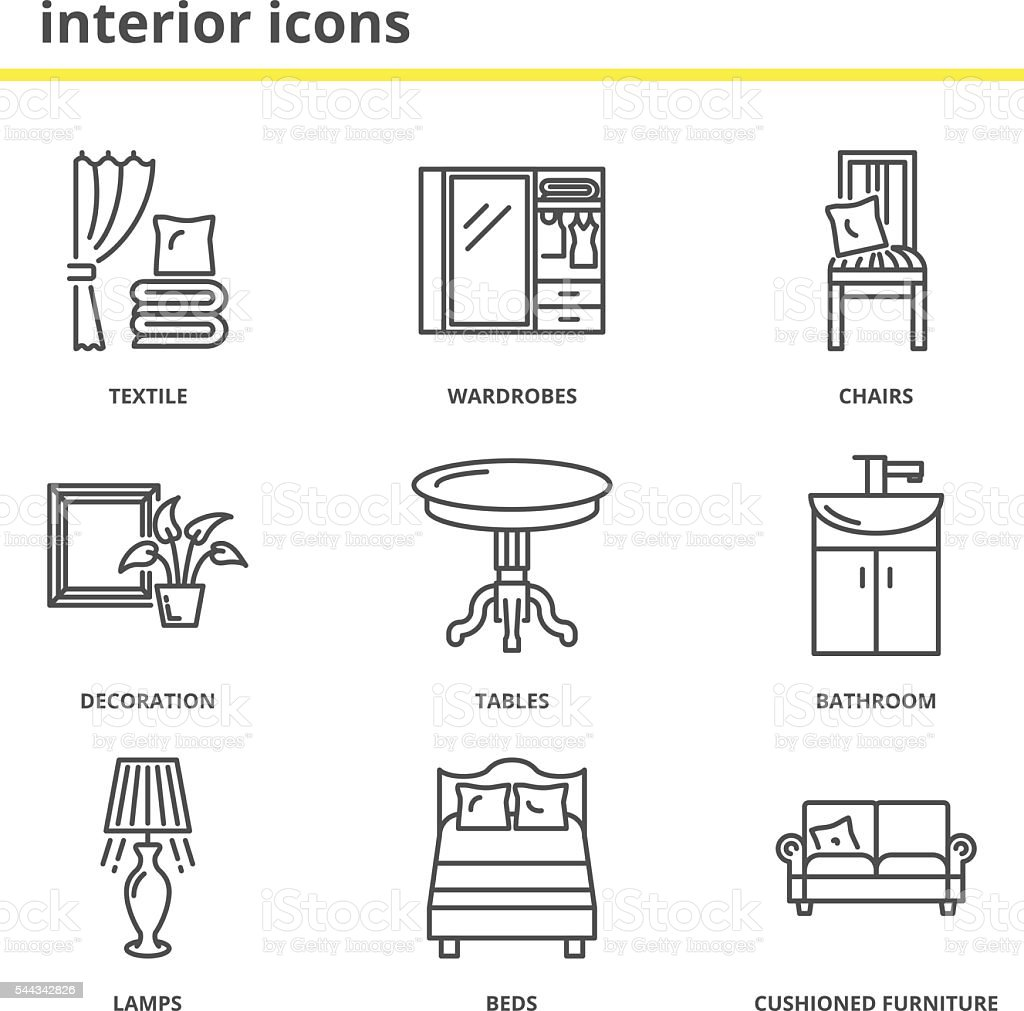 home interior icons set stock vector art 544342826 istock