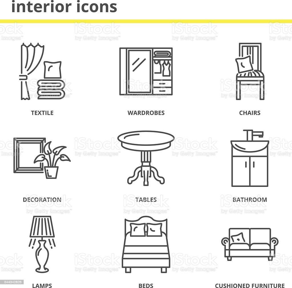 Home interior icons set vector art illustration
