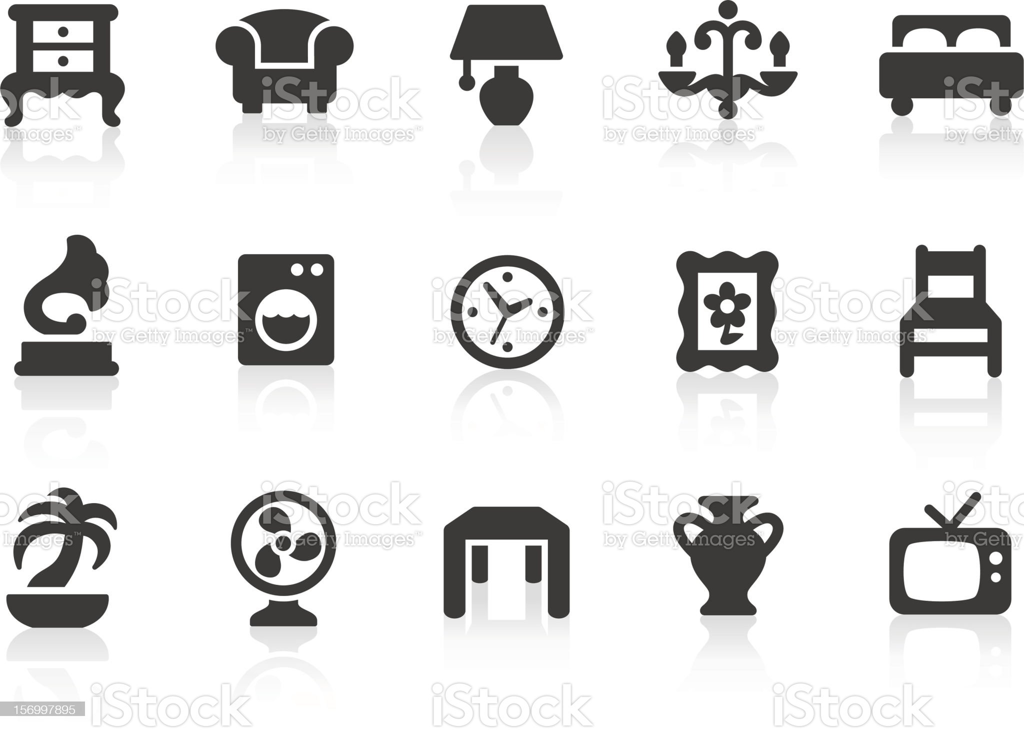 Home Interior icons royalty-free stock vector art