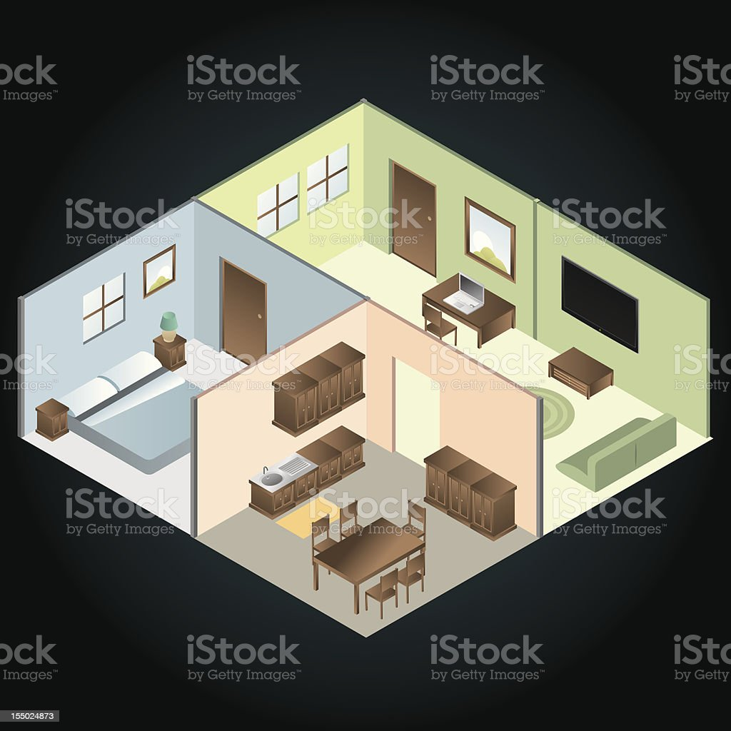 Home interior, isometric vector art illustration