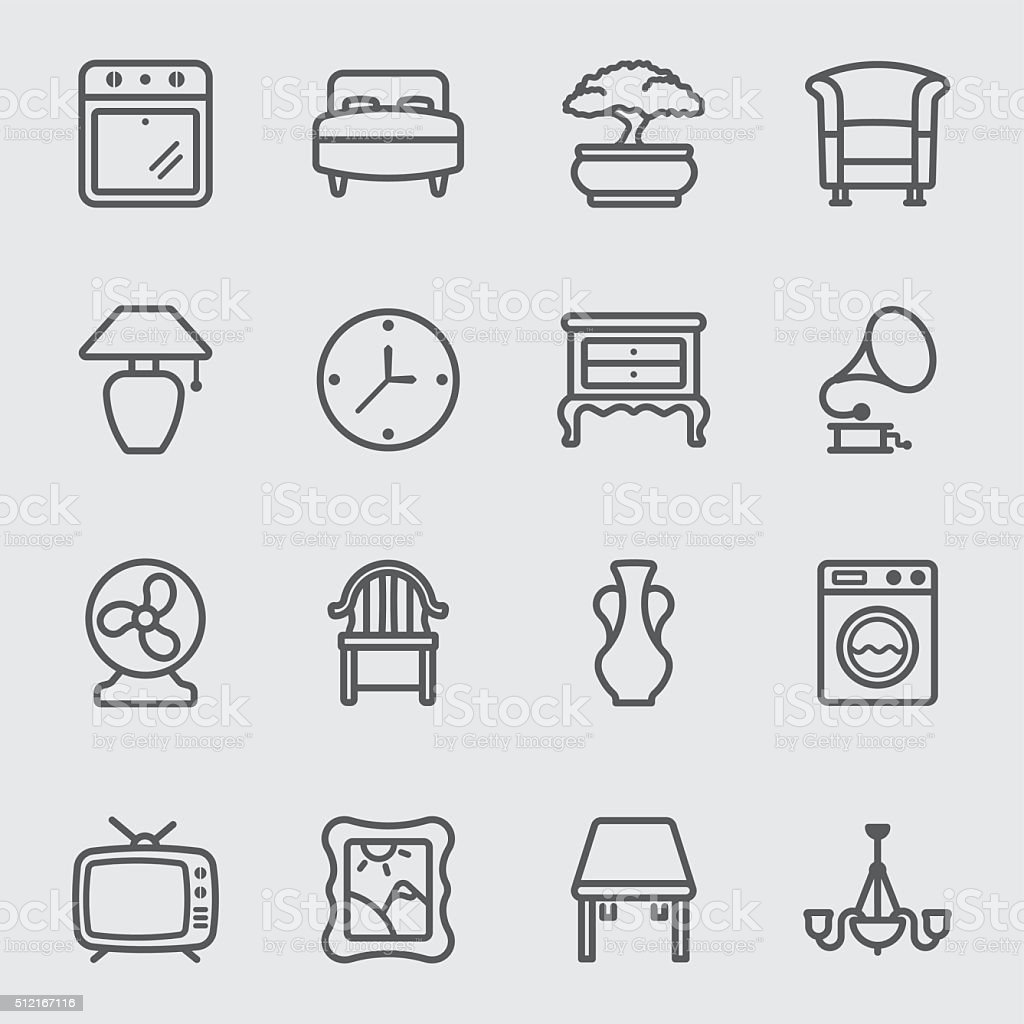 Home interior line icon vector art illustration