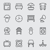 Home interior line icon