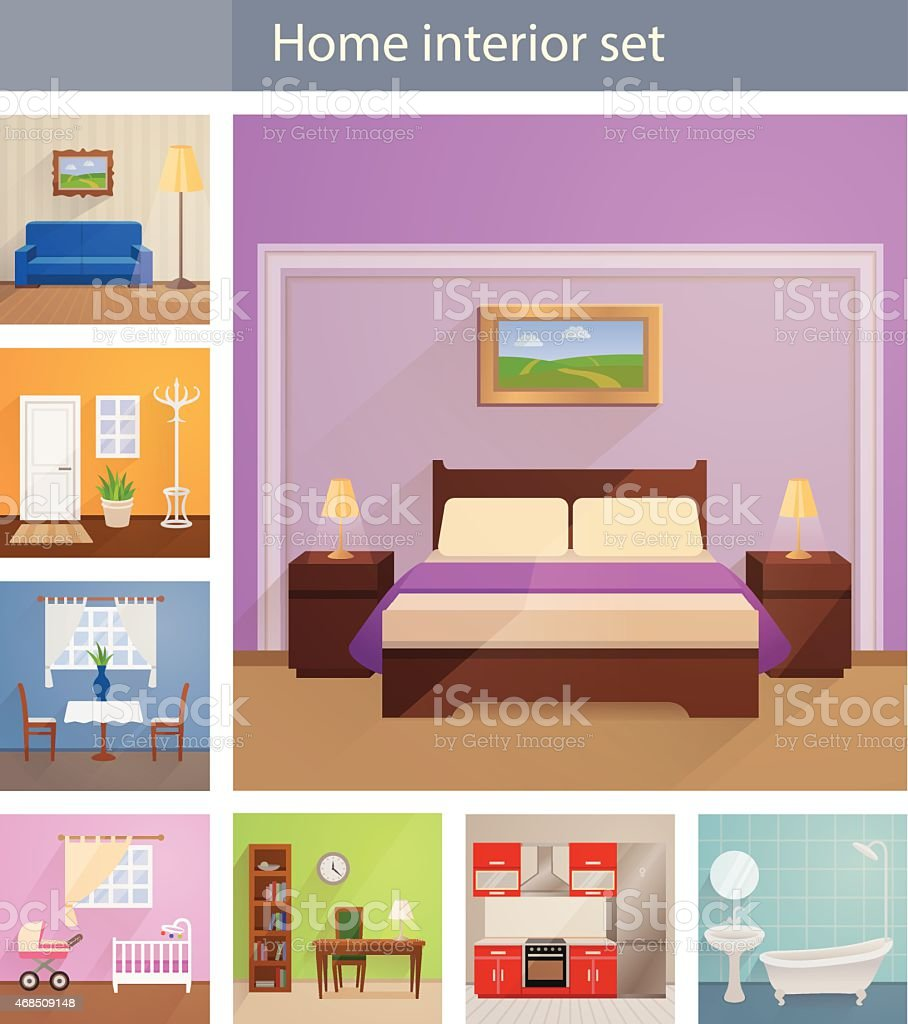Home interiors vector set vector art illustration