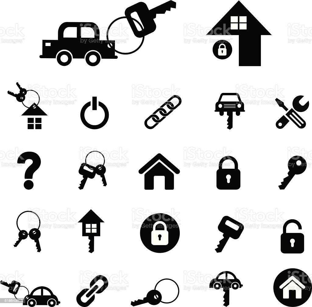 home key and car key symbol vector art illustration
