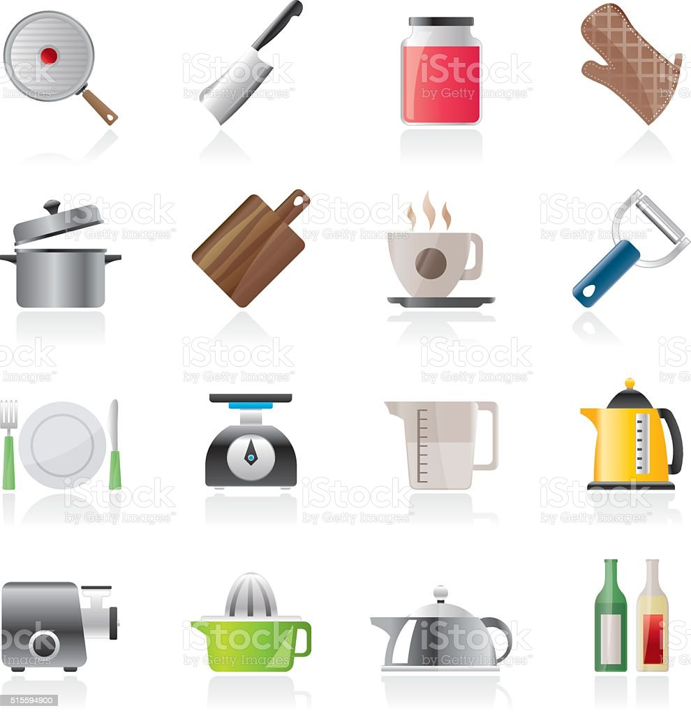 home kitchen equipment icons vector art illustration