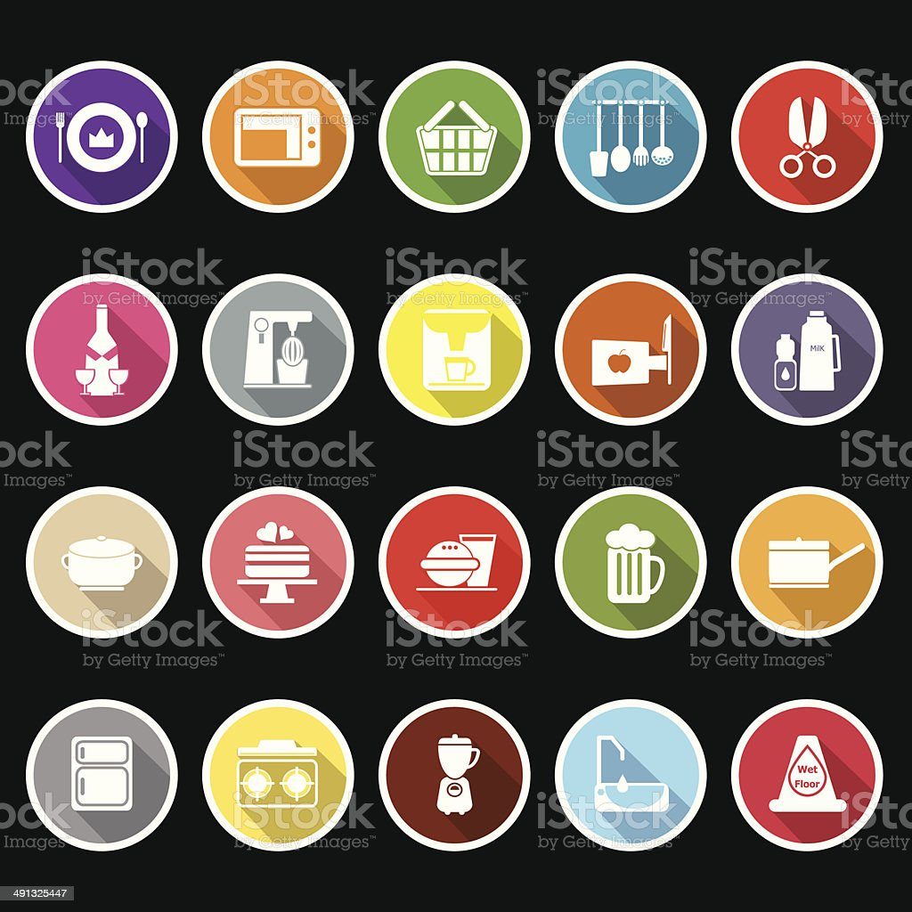 Home kitchen icons with long shadow royalty-free stock vector art