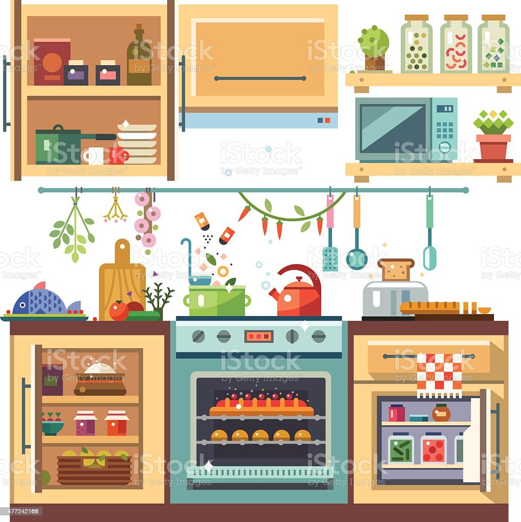 Home kitchenware vector art illustration