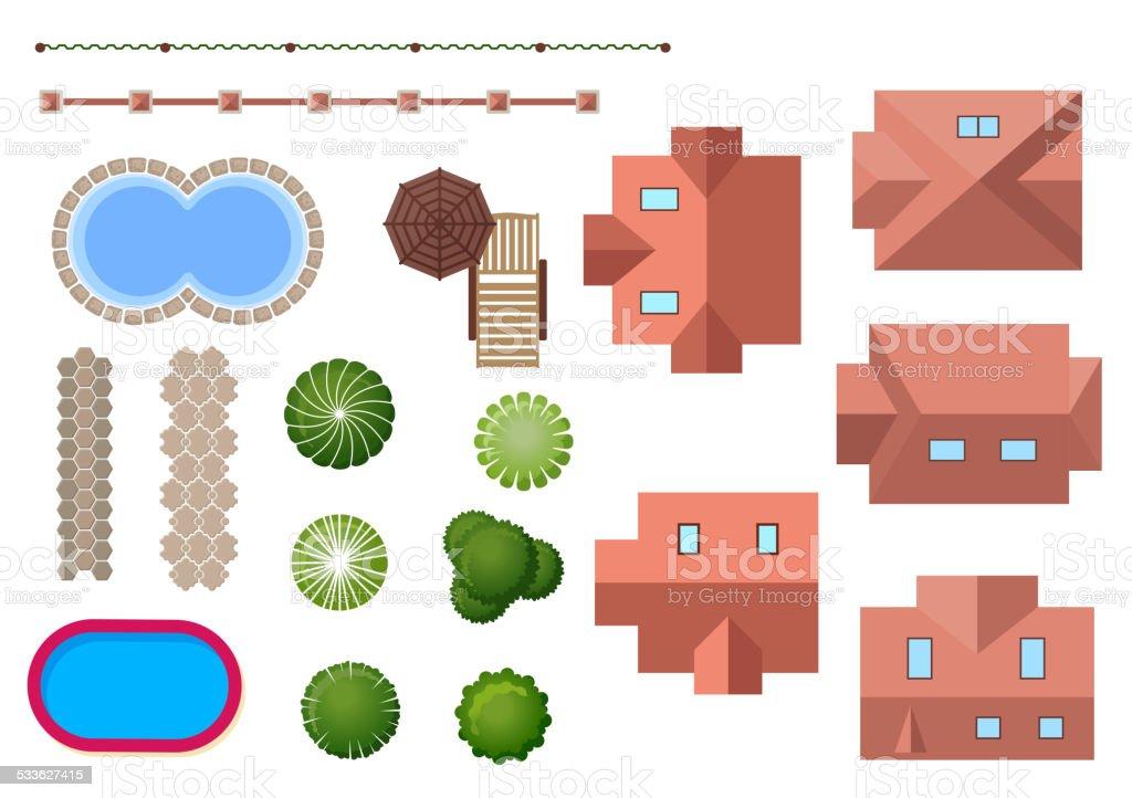 Home, landscape and property elements vector art illustration
