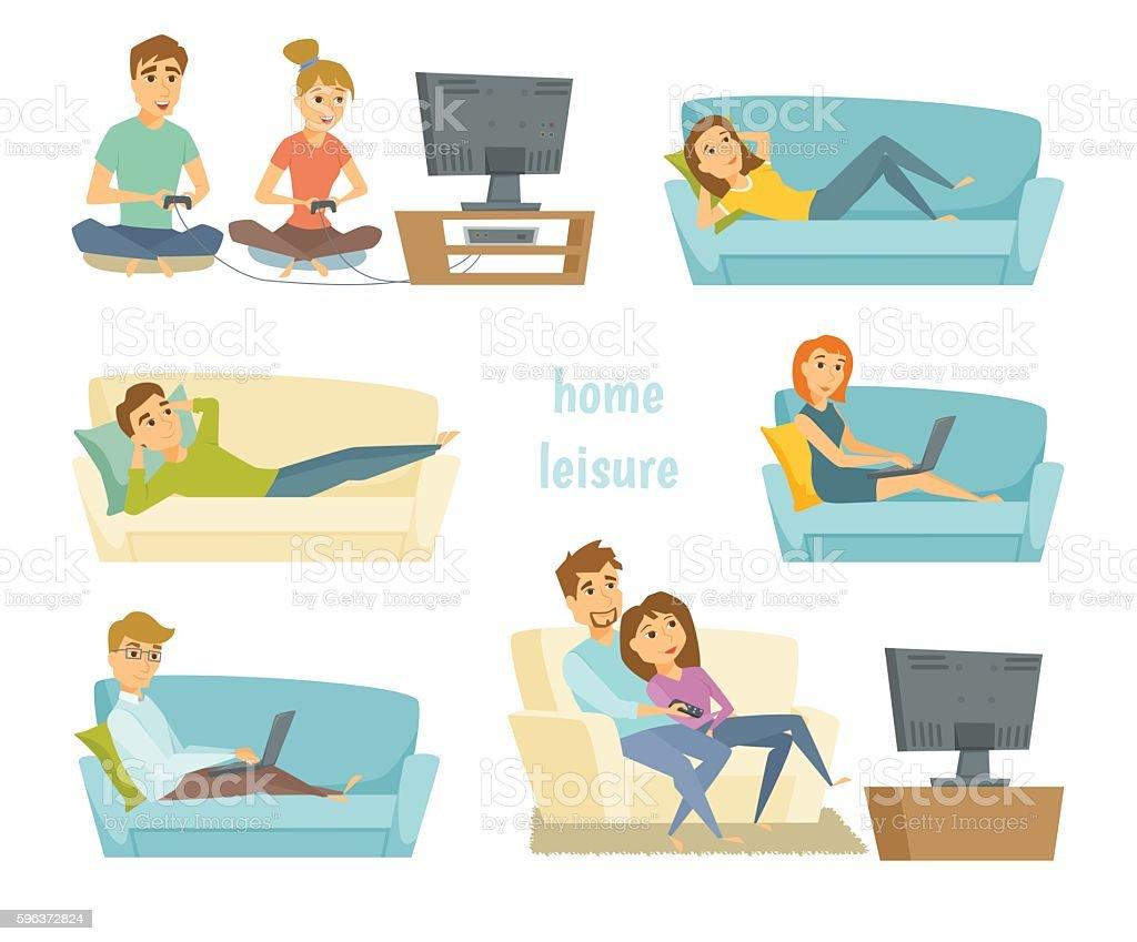 Home leisure vector vector art illustration