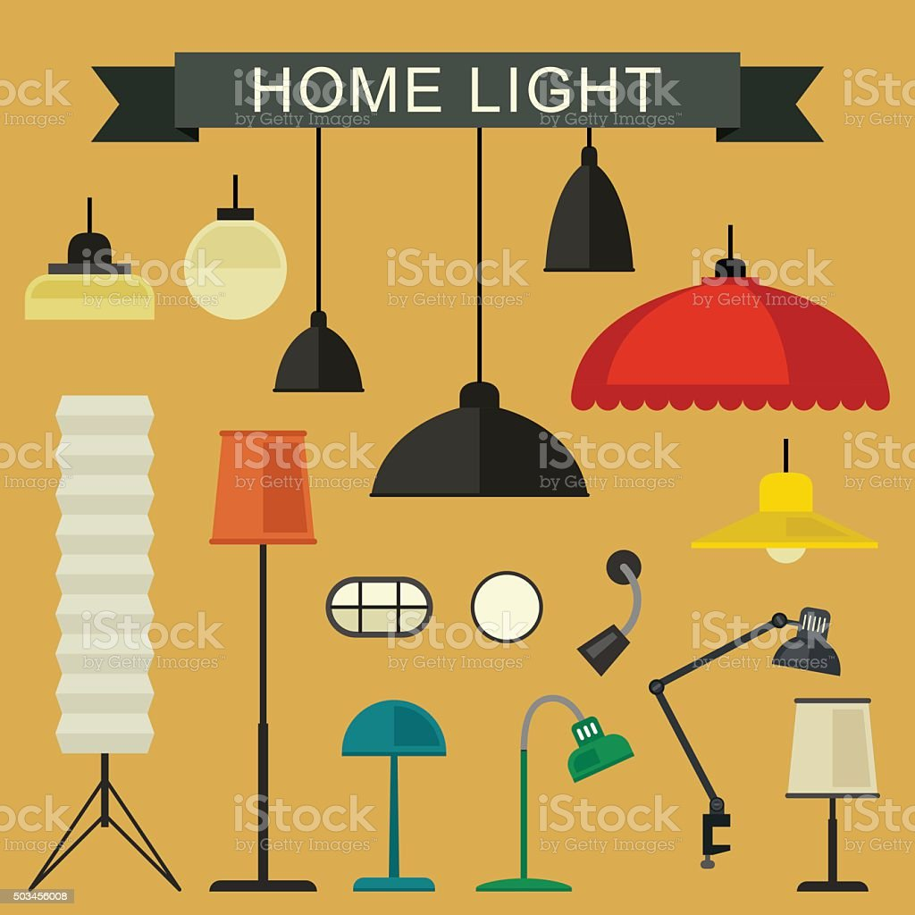 Home light icons set. vector art illustration