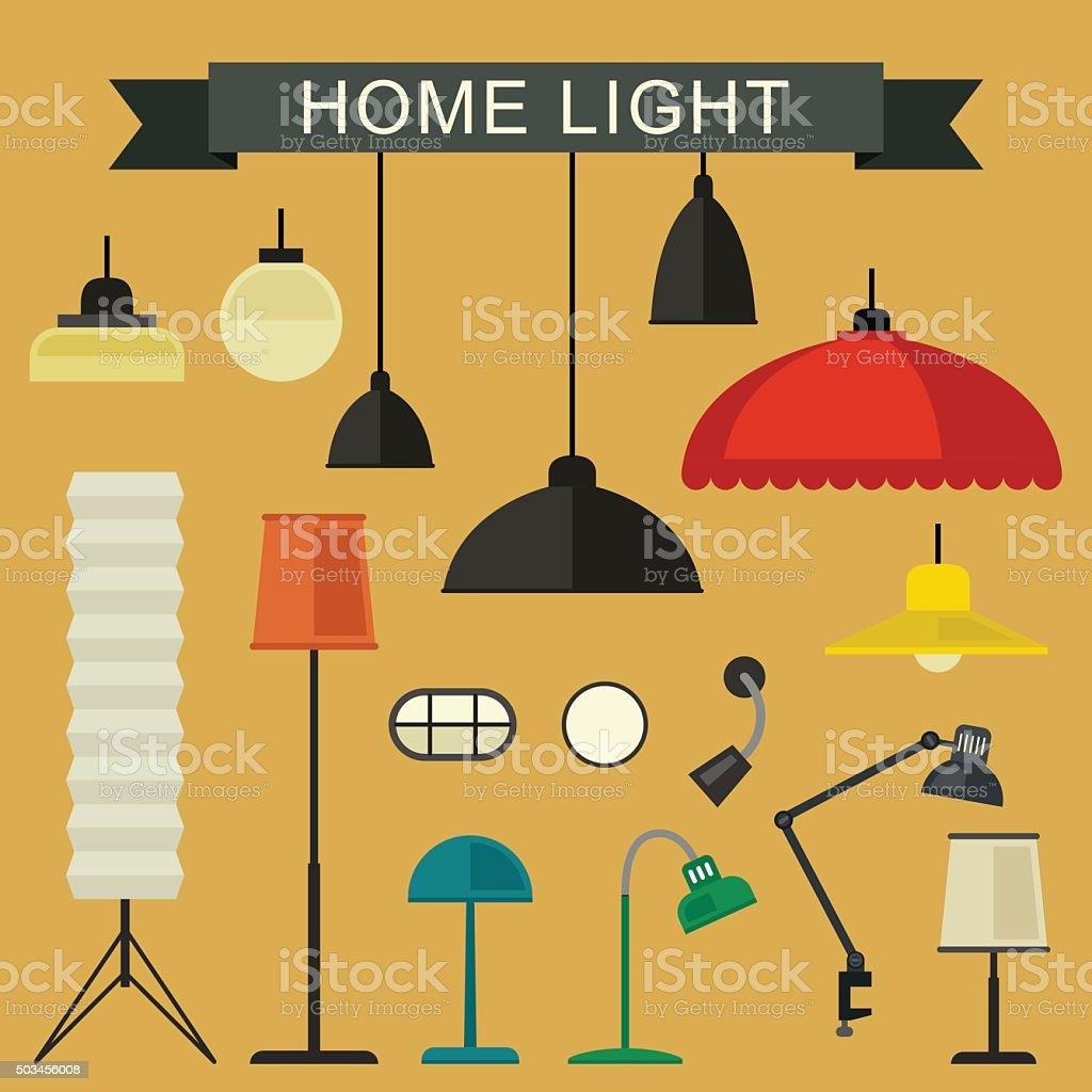 Home light icons set. vector art illustration