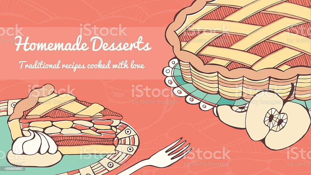 Home made apple pie vector art illustration