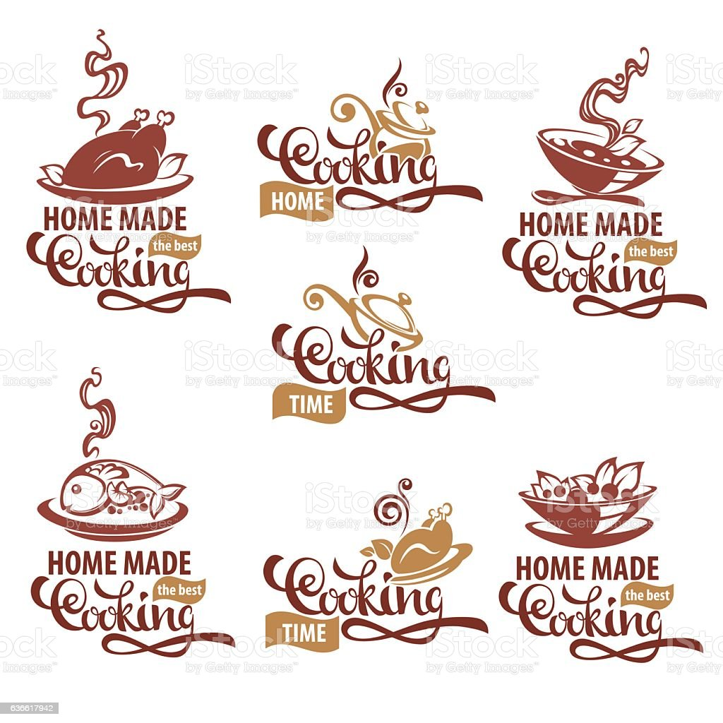 home made cooking,  soup, salad, fish, meat, vector art illustration
