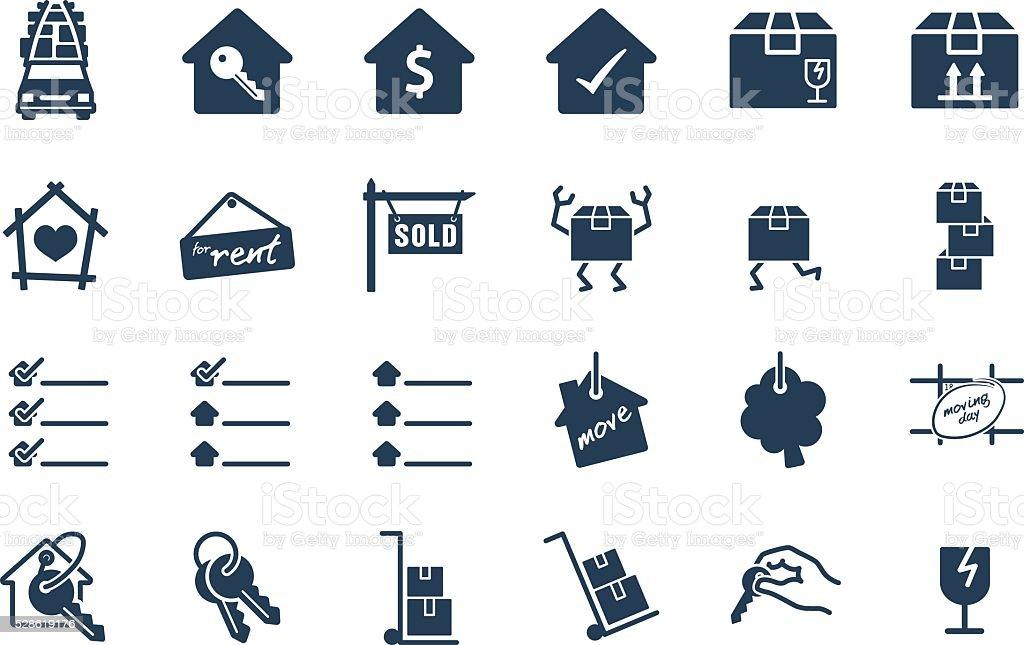 Home Move Service Vector Icon Set vector art illustration