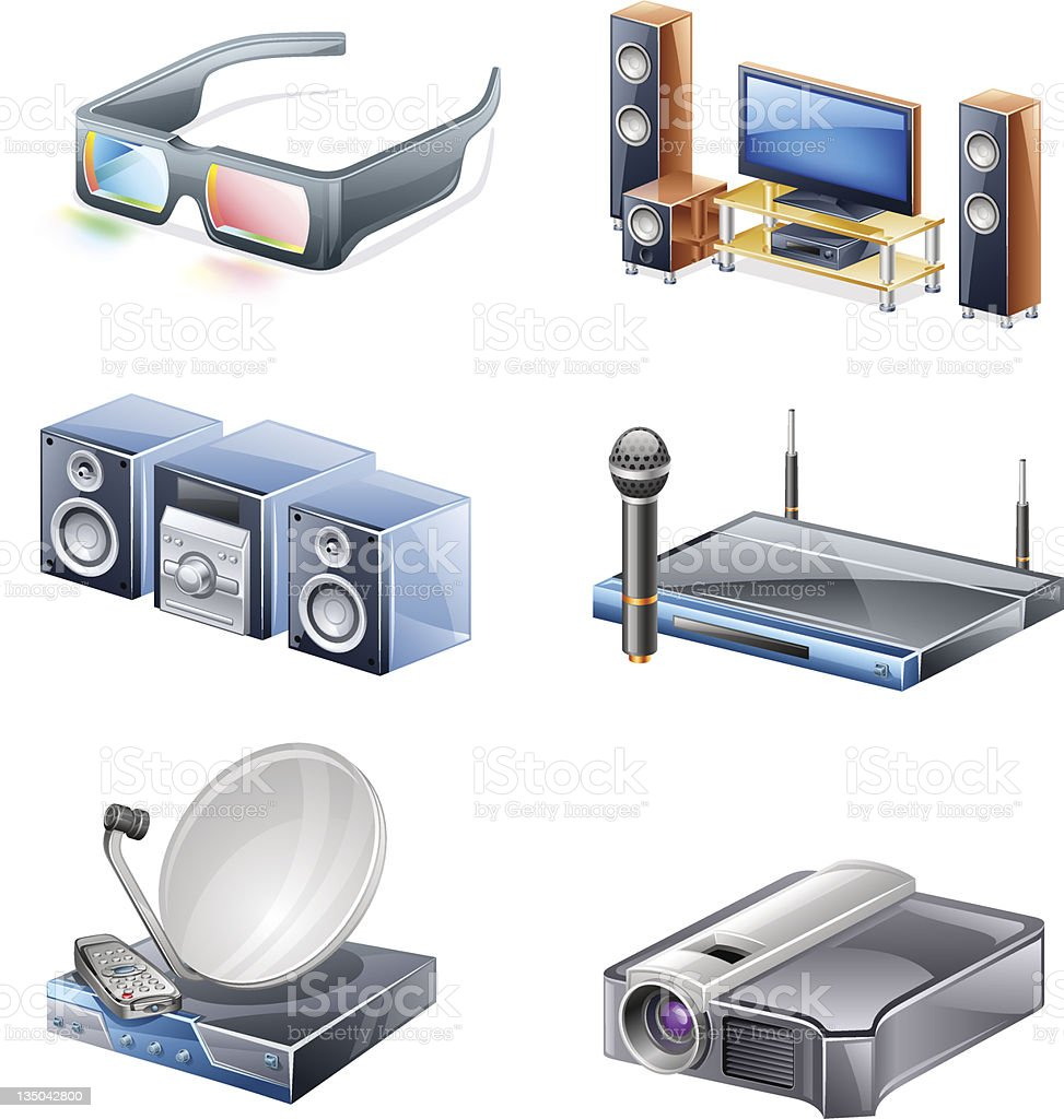 Home multimedia: 3d glasses, entertainment, sound system, microphone, satellite, projector. vector art illustration