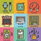 Home Musical Studio. Line Design Color Icon Set. Vector Illustrations.