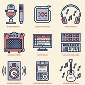 Home Musical Studio. Line Design Retro Icon Set. Vector Illustrations.