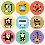 Home Musical Studio. Line Design Round Icon Set. Vector Illustrations.