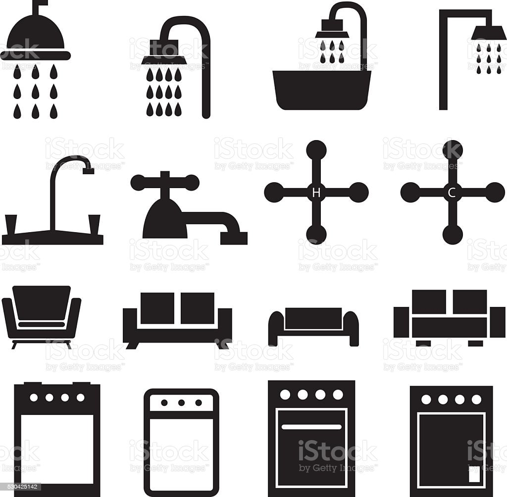 Home Object Icons vector art illustration