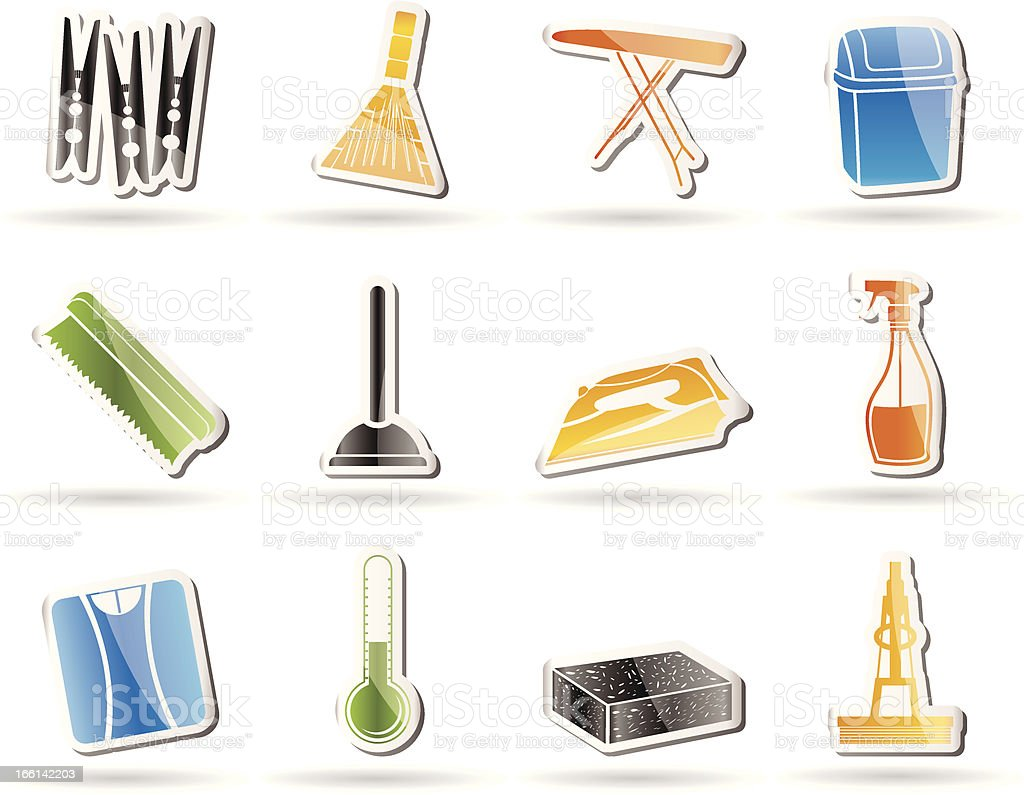Home objects and tools icons royalty-free stock vector art