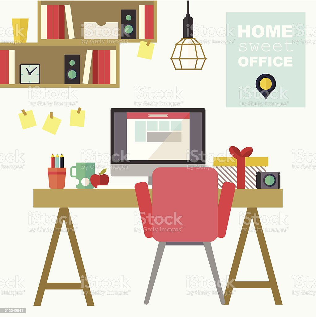 Home office flat interior vector illustration vector art illustration