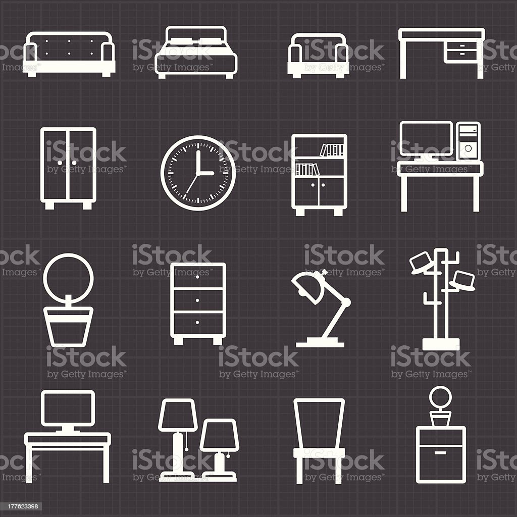 Home, office furniture interiors and black background royalty-free stock vector art