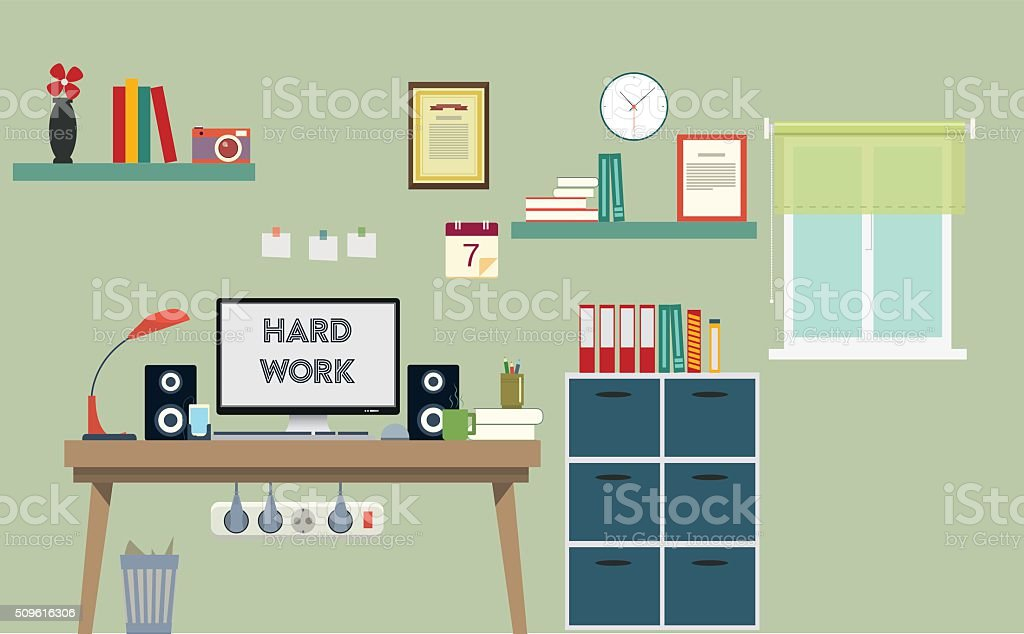 Home office vector art illustration