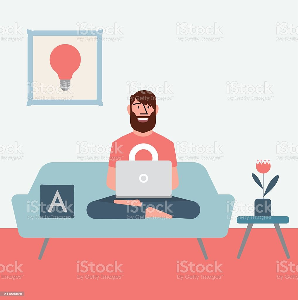 Homeoffice vector art illustration
