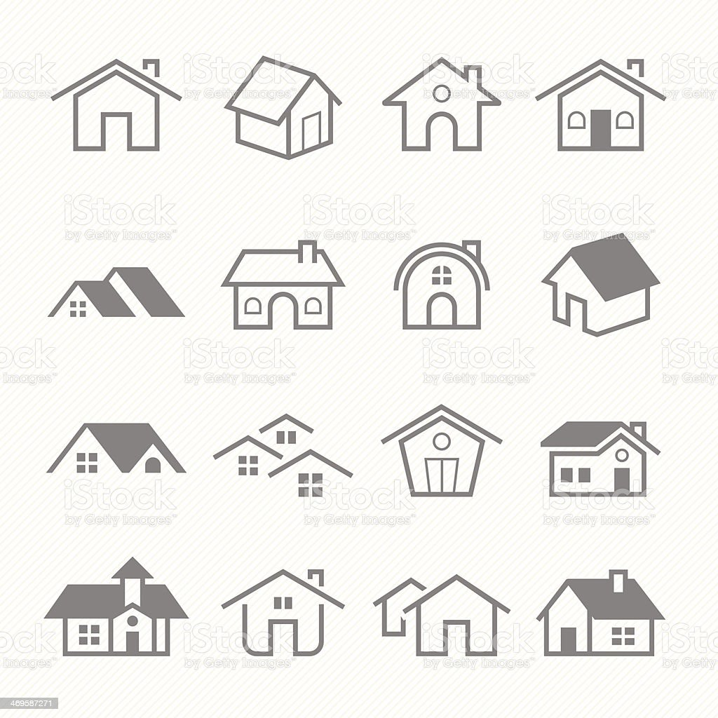 Home outline stroke symbol vector icons vector art illustration
