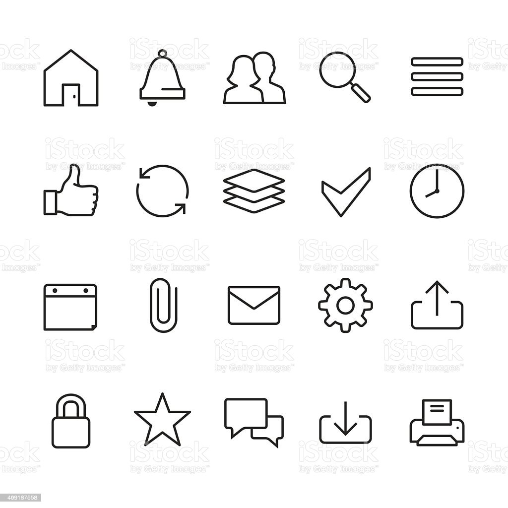 Home page interface related vector icons vector art illustration