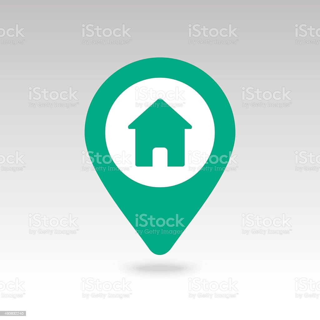 Home pin map icon. Map pointer, markers. vector art illustration