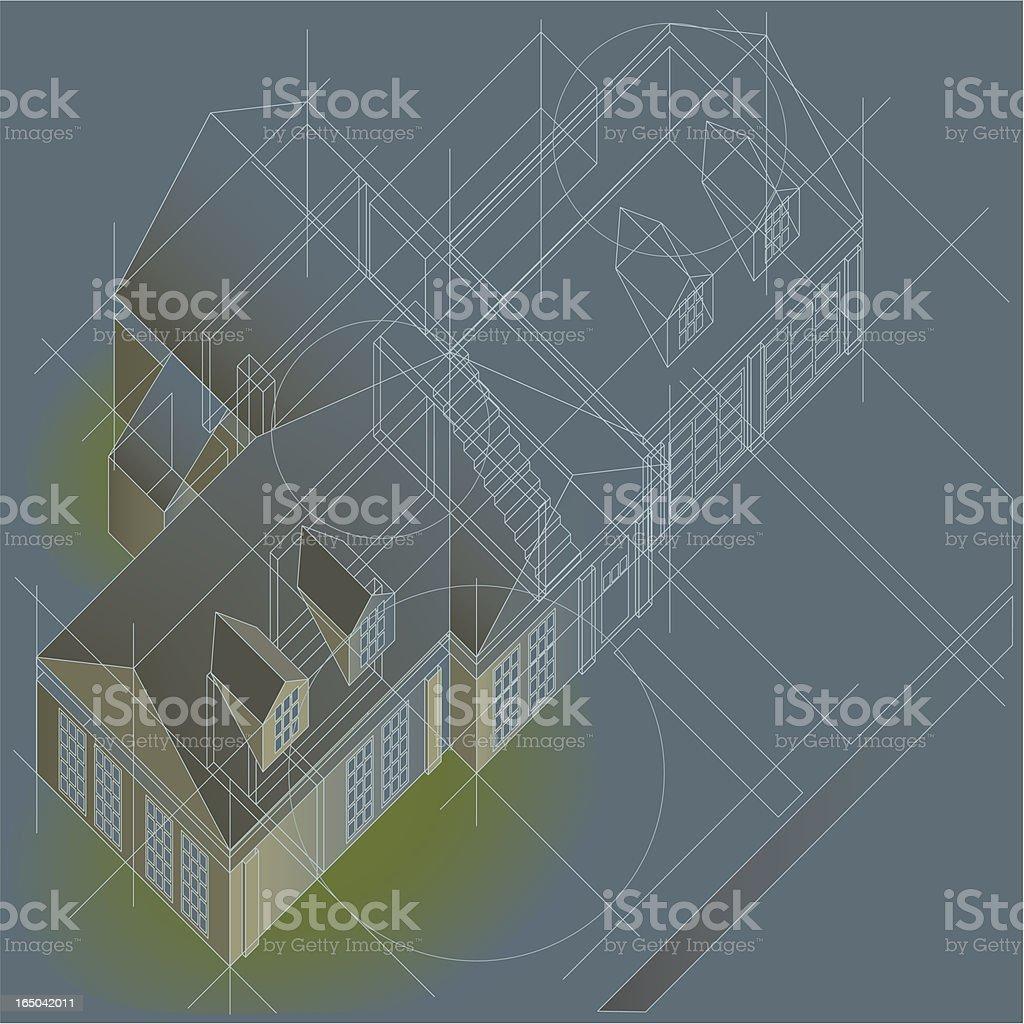 home plan oblique royalty-free stock vector art