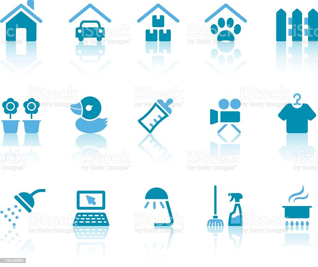 Home Plans Icons | Simple Blue Series vector art illustration