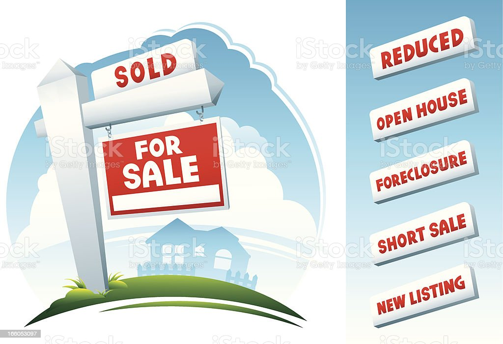 Home Real Estate Signs and House vector art illustration