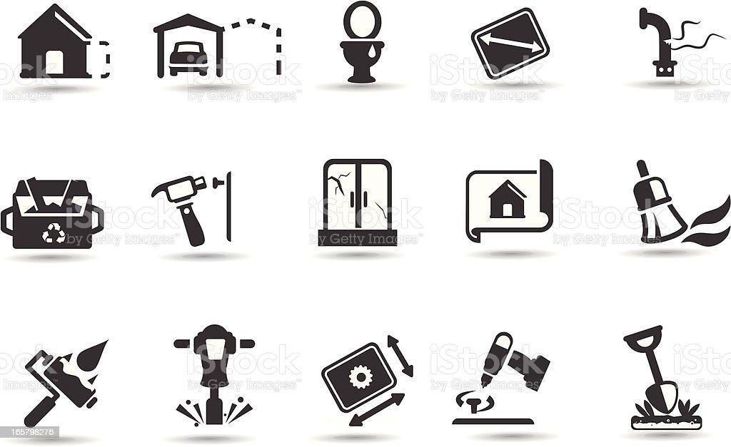 Home Renovation Icon Set vector art illustration
