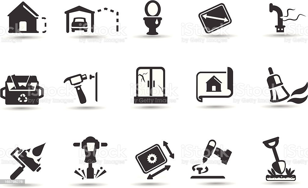 Home Renovation Icon Set vector art illustration