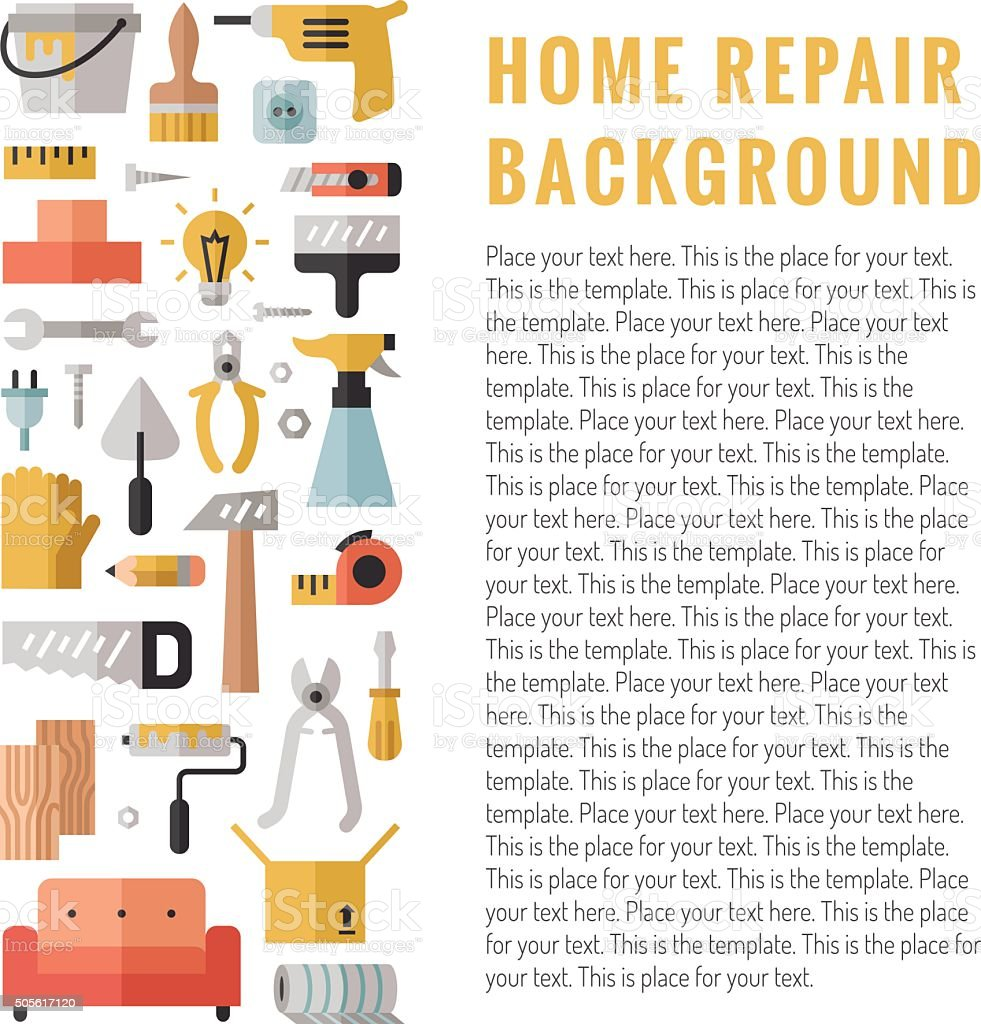 Home repair and construction multicolored flat vertical vector background. vector art illustration