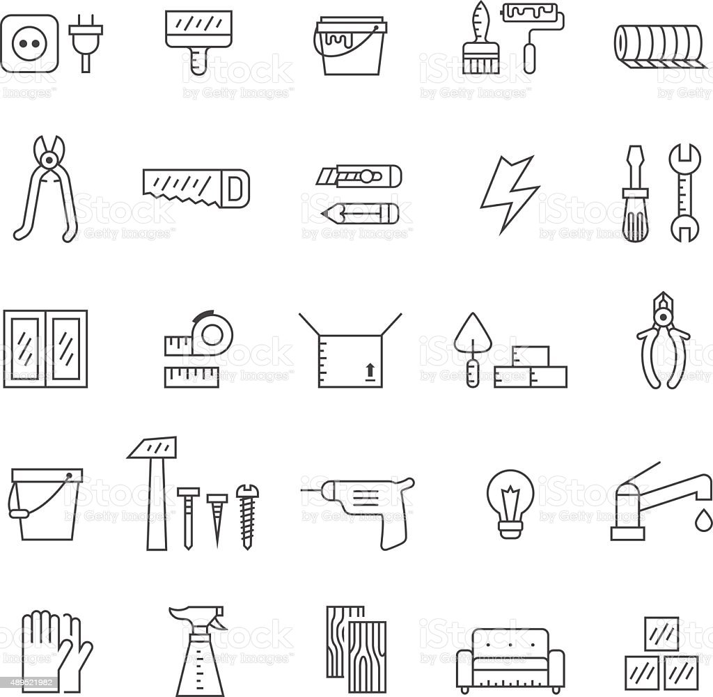 Home repair and construction outline gray vector icons set. vector art illustration