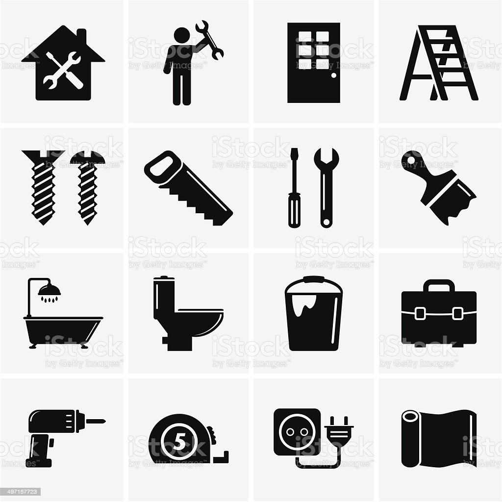 Home repair and tools icons vector art illustration