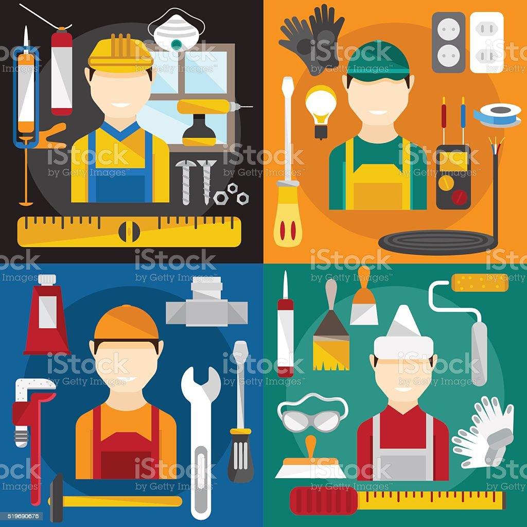 home repair banners flat design vector illustration vector art illustration