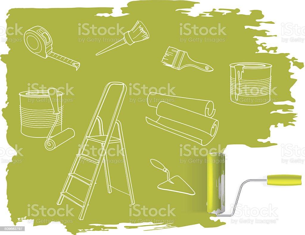 Reparo em casa conceito de desenho com Rolo para Pintar vetor e ilustração royalty-free royalty-free