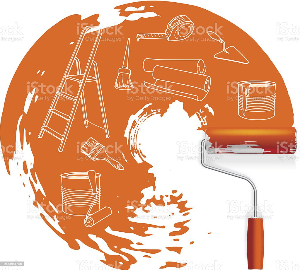 Home repair  concept, sketched drawing with paint roller vector art illustration
