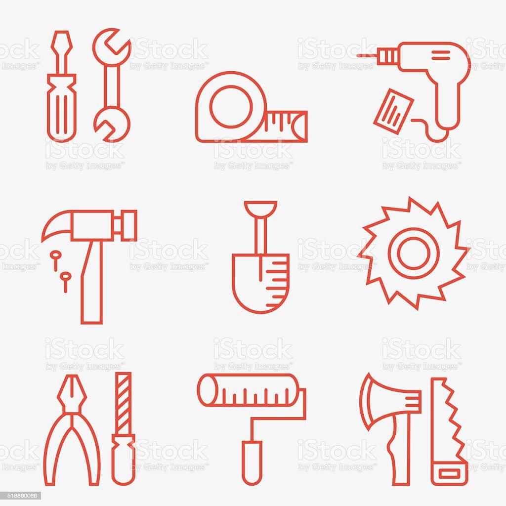 Home repair icons vector art illustration