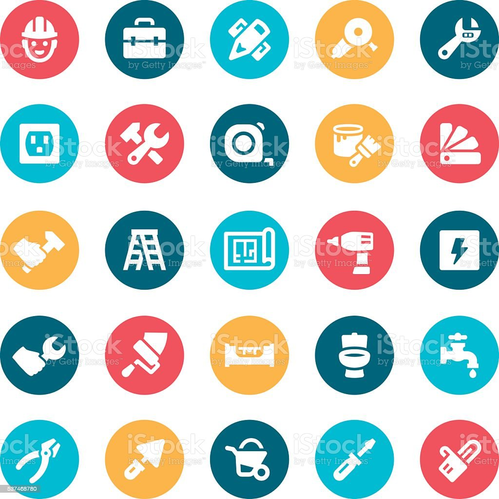 Home Repair Icons vector art illustration
